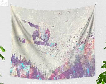 Snowboarding Art Wall Tapestry, adventure wall hanging, artsy dorm and living room wall decor, wanderlust bedroom wall art