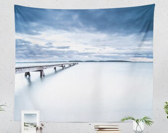 Ocean Tapestry, minimalist nature tapestry, wanderlust dorm and bedroom and living room decor making a statement. Large wall decor.