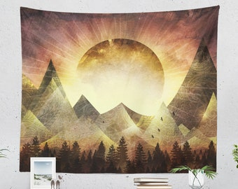 Positive Boho Tapestry, abstract landscape wall tapestry, artsy and colorful living room wall hanging,modern bedroom wall decor