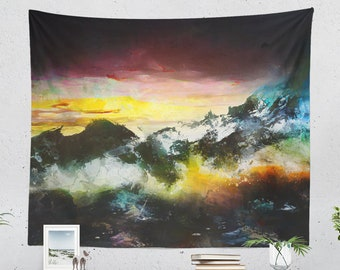 Abstract Mountain Tapestry, art wall tapestry, colorful and large wall decor and wall art, dorm room and bedroom wall hanging.