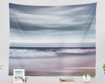 Artsy Ocean Tapestry, large dorm wall decor, nautical bedroom and living room wall hanging and wall art