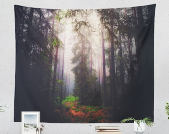 Elven Forest Tapestry, evergreen wall tapestry, trees wall decor and wall art making a unique dorm and bedroom room or home decor statement.
