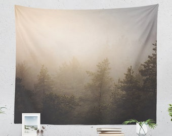 Magical Forest Tapestry, wanderlust dorm wall hanging, large woods bedroom wall decor, boho living room decor