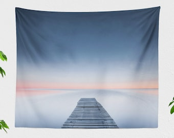 Minimalist Ocean Tapestry, tranquil dorm wall hanigng, large wanderlust living room wall decor, peaceful bedroom wall art