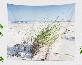 Summer Beach Wall Tapestry, sea and ocean wall hanging, boho living room decor, serene dorm and bedroom wall decor
