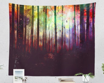 Artsy Forest Tapestry, colorful dorm nature wall decor, woodland living room and bedroom wall hanging