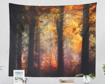 Enchanted Forest Tapestry, colorful woods living room wall hanging, large wanderlust wall decor, unique dorm and bedroom wall art