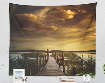 Nature Tapestry, colorful wanderlust wall decor, large dorm wall hanging, sea side bedroom and living room wall art