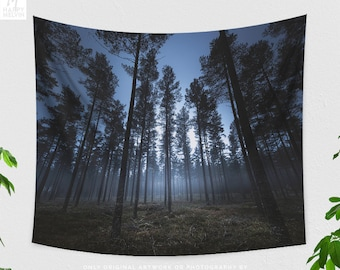 Foggy Woods Tapestry, nature bedroom wall hanging, dreamy forest living room wall decor and wall art, large dorm wall tapestry