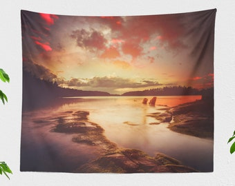 Colorful Lake Sunset Tapestry, wanderlust wall hanging, large dorm and living room wall decor, scenic nature bedroom wall decor.