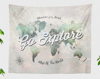 Wanderlust Tapestry, world map tapestries, dorm adventure wall hanging, travel living room wall art, large bedroom wall decor