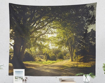 Bedroom Road Wall Tapestry, dorm nature wall hanging, large living room and bedroom travel wall art and wall decor