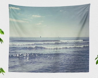 Beautiful Ocean Tapestry, nature dorm tapestry, nautical living room wall decor, large boho bedroom wall hanging