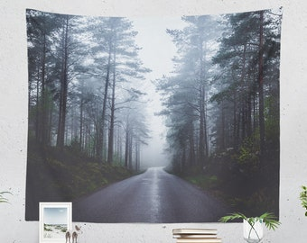 Misty Forest Tapestry, beautiful wanderlust bedroom wall hanging, large nature living room wall decor and dorm wall art