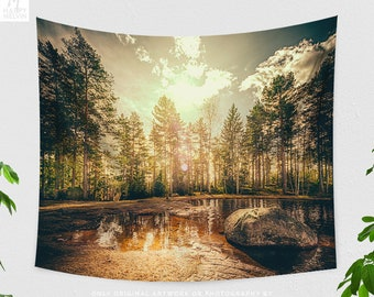 Sunrise In Forest Wall Tapestry, nature tapestry, dorm wall hanging and wanderlust living room decor, large bedroom wall art