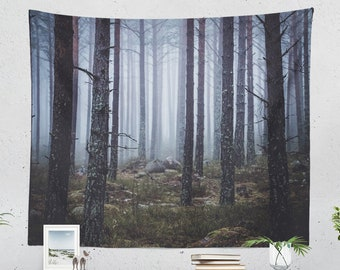 Moody Forest Tapestry, nature tapestry, large wall art and wanderlust living room decor making a statement. dorm and bedroom decor.