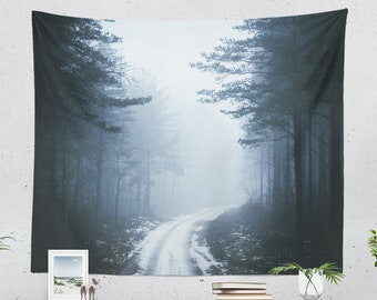 Misty Forest Wall Tapestry, forest road wall hanging, woods dorm and bedroom decor, large boho living room wall art