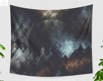 Artsy Dorm Wall Tapestry, abstract landscape and moon wall hanging, large boho living room wall decor, tendr bedroom wall art