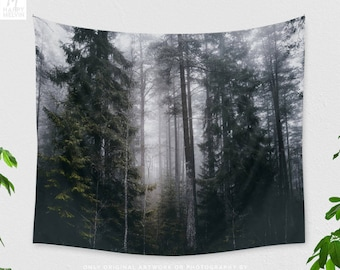 Magical Forest Tapestry, dorm nature wall decor, enchanted woods bedroom wall art, wanderlust living room wall hanging
