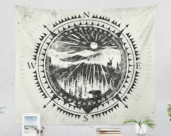 Wanderlust Tapestry, nature art tapestry, adventure dorm wall decor making a unique theme, large bedroom and living room wall hanging
