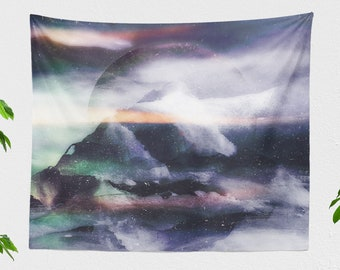 Abstract Mountains Wall Tapestry, large bedroom wall decor, artsy dorm and living room wall hanging