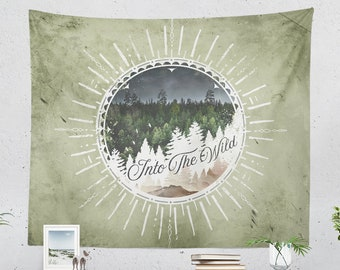 Wanderlust Tapestry, nature art tapestry, adventure wall decor making a unique dorm and bedroom decor and living room decor statement.