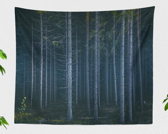 Dorm Forest Tapestry, large woods bedroom wall hanging, mystic living room wall decor and woodland wall art