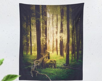 Tall Forest Tapestry, magical nature wal hanging, large dorm wall decor, serene bedroom wall art, boho living room decor