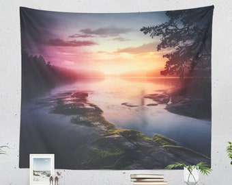 Colorful Lake Wall Tapestry, nature wall hanging and dorm tapestry, large wall decor and wall art making a unique decor statement.
