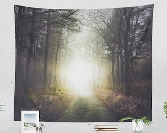 Light In Forest Tapestry, magical nature living room wall decor, spiritual dorm and bedroom wall hanging, large wall tapestries