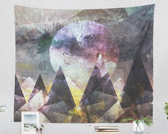 Abstract Mountain Tapestry, bohemian dorm wall tapestry, large bedroom wall hanging and artsy living room wall decor.