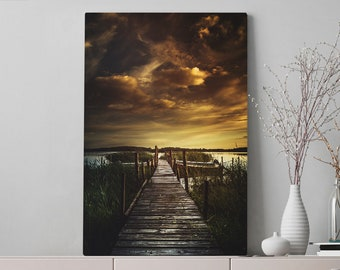 Living Room Nature Canvas Art, large vertical office wall art, ready to hang living room wall decor