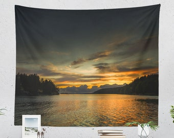 Sunset Wall Tapestry, colorful nature living room wall decor, nautical dorm and bedroom wall hanging and wall art