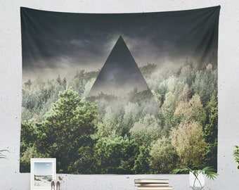 Mystical Forest Tapestry, nature art wall tapestry, large wall decor making a unique dorm and bedroom decor and living room decor statement.