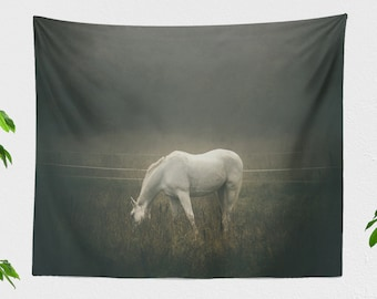 Dreamlike Horse Wall Tapestry, large horse lover wall hanging, calming living room wall decor, serene landscape bedroom wall art