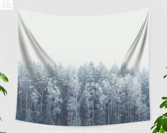Minimalist Forest Tapestry, serene dorm wall hanging, modern boho wall decor, large living room and bedroom wall art