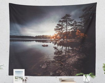 Serene Lake Tapestry, beautiful nature wall hanging, large dorm wall decor, wanderlust bedroom and living room wall decor