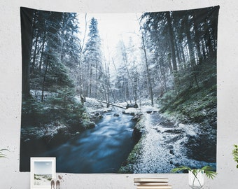 Hiking Wall Tapestry,  wanderlust forest wall decor, dorm and bedroom wall hanging, nature adventure living room decor.