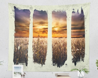 Nature Art Tapestry, wanderlust wall tapestry, colorful and large wall decor and wall art making a unique dorm and home decor statement.