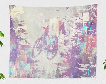 Mountain Bike Tapestry, dorm adventure wall hanging, large artsy living room and  bedroom wall decor