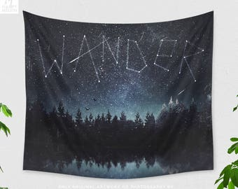Starry Nature Tapestry, wanderlust tapestry, large wall art and boho wall decor making a statement. dorm and bedroom decor.
