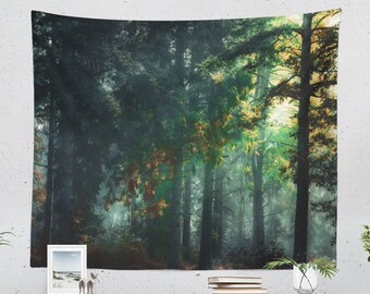 Magical Forest Tapestry, enchanted woods wall tapestry, large dorm wall decor and living room wall hanging, spiritual bedroom decor