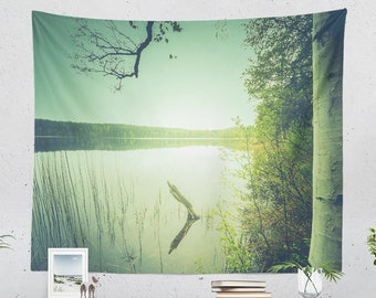 Lake Wall Tapestry, magical nature wall hanging, wanderlust dorm and bedroom wall decor, colorful living room decor.