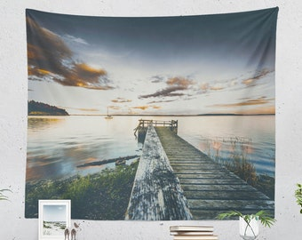 Scenic Ocean Tapestry, colorful living room wall hanging and sailing wall art, large dorm and bedroom wall decor making a tranquil feeling