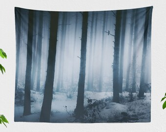 Soft Forest Wall Tapestry, magical nature wall hanging, large dorm wall decor, woodland living room and bedroom art