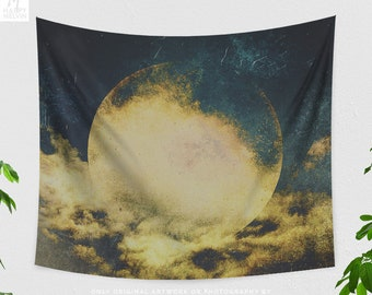 Golden Moon Tapestry, boho living room wall hanging, large spiritual dorm and bedroom wall decor.