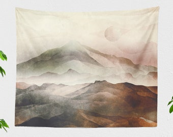 Asian Mountains Wall Tapestry, landscape art tapestries, large dorm wall hanging, spiritual bedroom wall decor, boho living room wall art