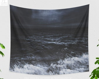 Stormy Ocean Tapestry, moody tapestry, dreamy dorm and bedroom decor and boho living room decor making a powerful statement.
