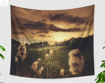 Golden Sunset Tapestry, bedroom nature landscape tapestry, dorm and living room wall hanging, large colorful wall art