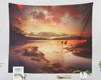 Enchanted Nature Tapestry, wanderlust wall tapestry, large dorm and living room wall hanging, colorful bedroom wall decor.